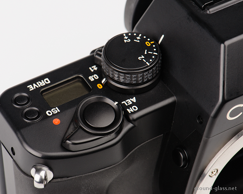 Detail of the Contax Aria 35mm roll film camera body